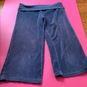 Terry cloth capris with fold over